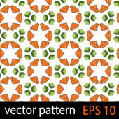 Orange and green geometric figures seamless pattern scrapbook paper set — Stock Vector