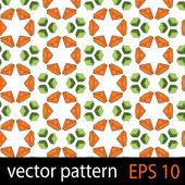 Orange and green geometric figures seamless pattern scrapbook paper set — Stock Vector