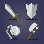 Ancient weapon collection. Cartoon vector illustration — Stok Vektör