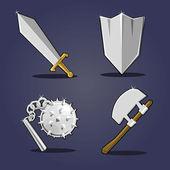 Collezione di armi antiche. fumetto illustrazione vettoriale — Vettoriale Stock