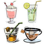 Non alcoholic drinks collection. Hand drawing colorful sketch vector icons — Stock vektor