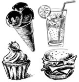Fast food and desserts set. Hand drawing sketch vector illustration — Stock Vector