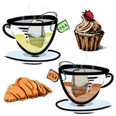 Green and black tea in glass cups with sweets. Hand drawing sketch vector icons — Stock Vector