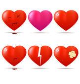 Uppsättning av hjärtan — Stockvektor