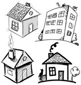 Collection of apartments. Sketch vector set of houses in doodle style — Stock Vector