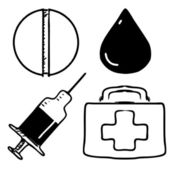 Medical icons set. Sketch hand drawing vector objects isolated on white background — Stock Vector