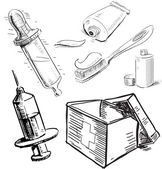 Medical stuff set. Sketch hand drawing vector objects isolated on white background — Stock Vector