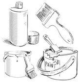 Pittura roba impostato. mano disegno oggetti vettoriali schizzo isolati su sfondo bianco — Vettoriale Stock