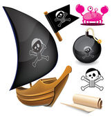 帆艇与海盗符号。矢量插画 — 图库矢量图片
