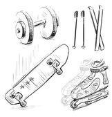 Spor malzeme simge seti. el çizimi beyaz zemin üzerine izole sketch vektör nesneleri — Stok Vektör