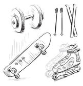 Sport stuff icon set. Hand drawing sketch vector objects isolated on white background — Stock Vector
