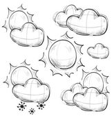 Day weather icons set. Hand drawing sketch vector symbols — Stock Vector