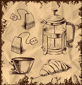 Tea time objects collection isolated on vintage background. Hand drawing sketch vector illustration — Stock Vector