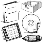 Office stuff set. Hand drawing sketch vector illustration — Stock Vector