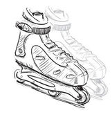 Doodle style sketch of rollerskates and rollerblades in vector illustration. — Stock Vector