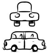 Funny sketch car in childish doodle style. — Stock Vector