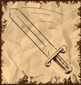 Sword isolated on vintage background. Hand drawing sketch vector illustration — Stock Vector