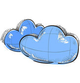 Color sketch weather icons. two clouds — Stock Vector