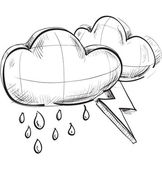 Sketch weather icons: two clouds with lightnings and rain drops — 图库矢量图片