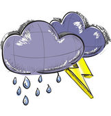Color sketch weather icons: two clouds with lightnings and rain drops — 图库矢量图片