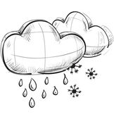 Sketch weather icons:two clouds with rain drops and snow flakes — Stock Vector