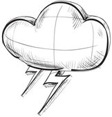 Sketch weather icons: cloud with lightnings — Stock Vector