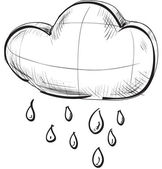 Sketch weather icons: cloud with rain — 图库矢量图片