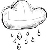 Sketch weather icons: cloud with rain — Stock Vector