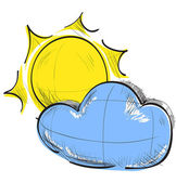 Color sketch weather icons: cloud and sun — Stock Vector