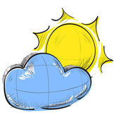 Color sketch weather icons: cloud and sun — 图库矢量图片