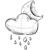 Sketch weather icons: night moon and cloud with rain drops — 图库矢量图片