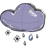 Color sketch weather icons:two clouds with rain drops and snow flakes — 图库矢量图片