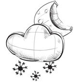 Sketch weather icons:moon and cloud with snow flakes — 图库矢量图片