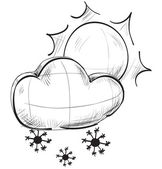 Sketch weather icons:sun and cloud with snow flakes — 图库矢量图片
