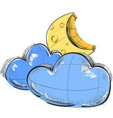 Color sketch weather icons: two clouds and moon — 图库矢量图片