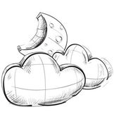 Sketch weather icons: two clouds and moon — Stock Vector