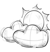 Sketch weather icons:cloud with the sun — 图库矢量图片