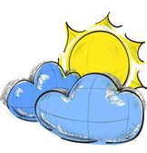 Color sketch weather icons: two clouds and sun — Stock Vector