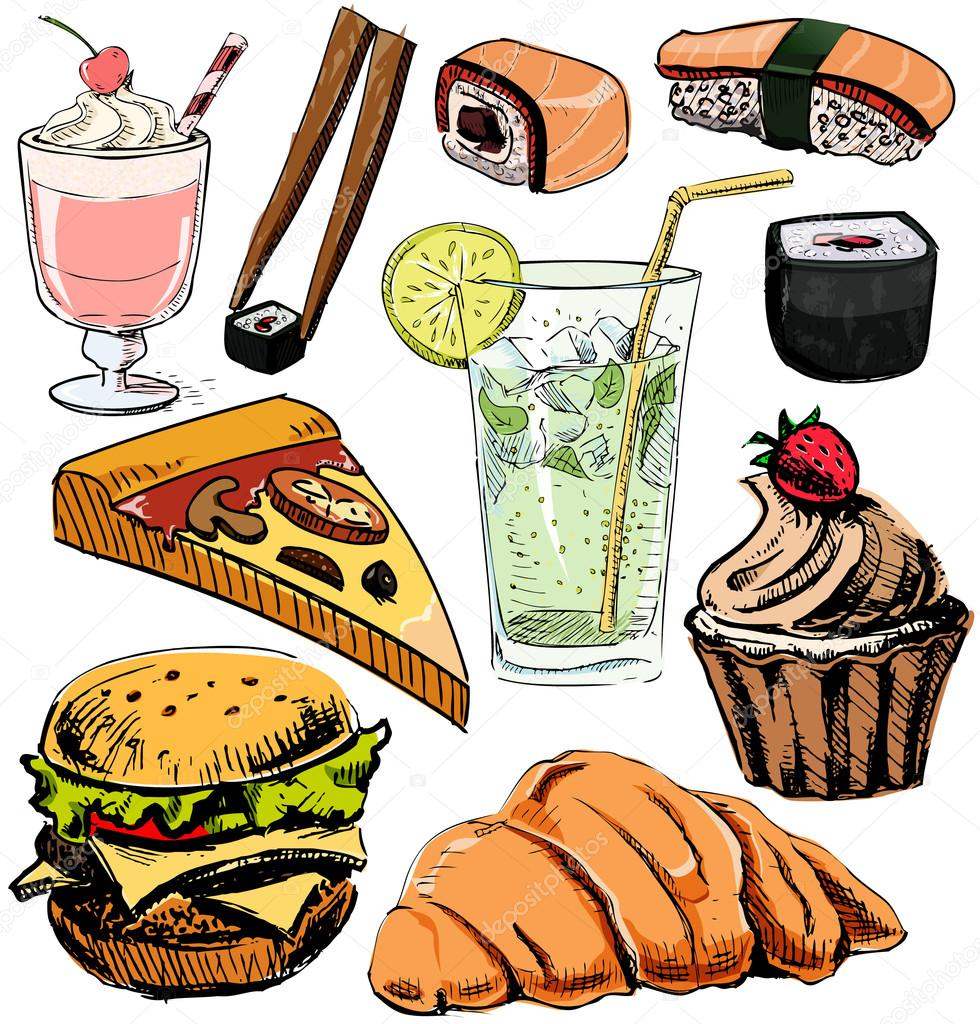 food drinks fast drawing sketch vector background objects hand collection colorful illustration isolated plus google depositphotos