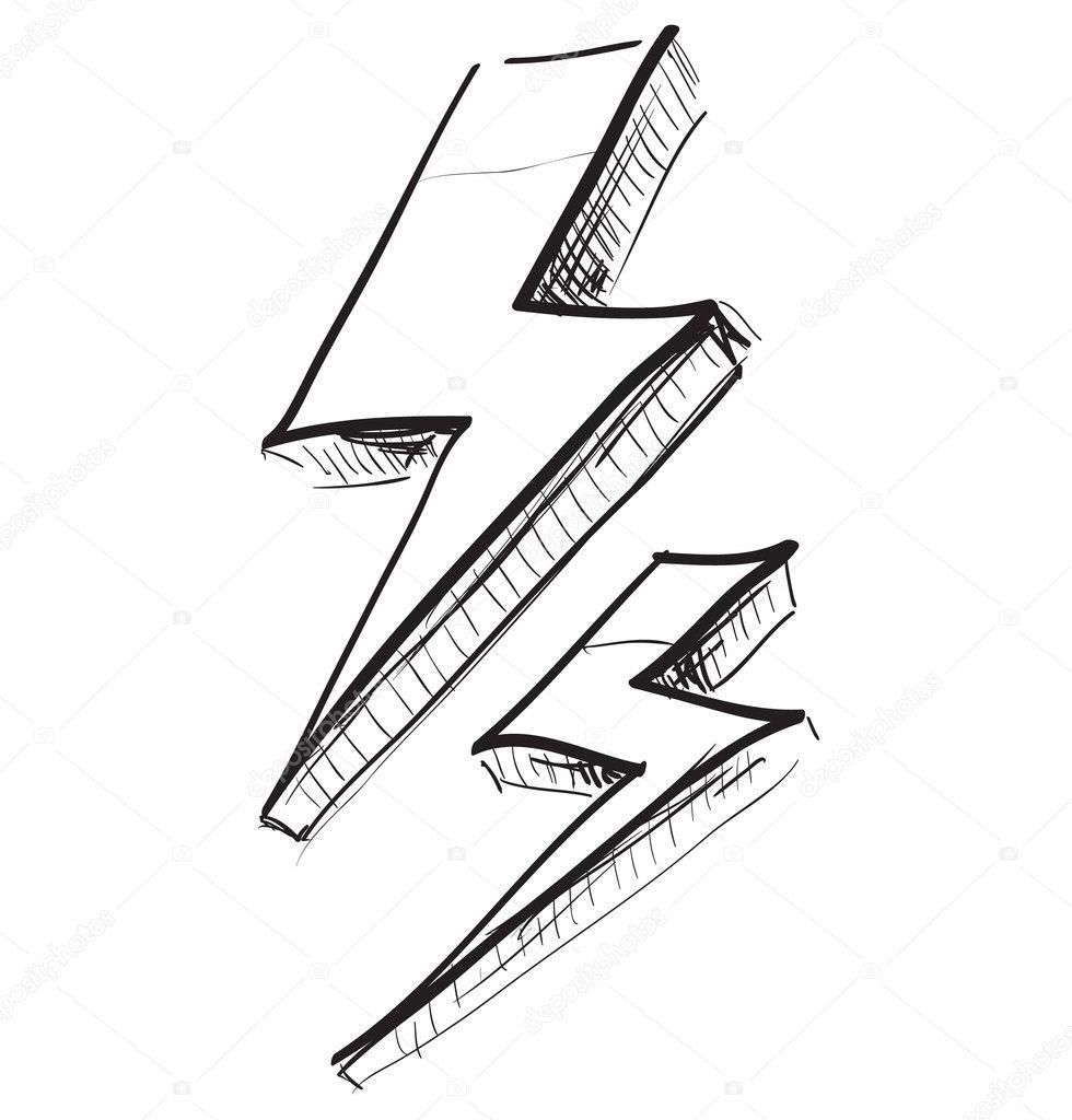 Молния рисунок карандаш