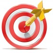 Red darts target aim and arrow. Successful shoot. No transparency - only gradient. — Stock Vector #14193017