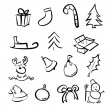 Christmas hand drawn seamless pattern with cute characters — Vettoriali Stock