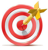 Red darts target aim and arrow. Successful shoot. No transparency - only gradient. — Vector de stock