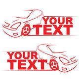 Kırmızı araba oto logo hat sanat resimde örnek metin için yer ile yarış. — Stok Vektör