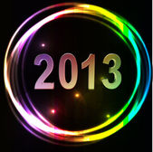 New year 2013 background glossy glowing colorful numbers vector illustration — Stock Vector