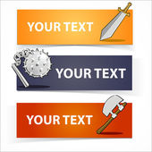 Weapon colorful headers or banners set. Cartoon vector elements — Stock Vector