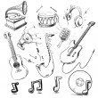 Musical instruments and icons collection — Stock Vector