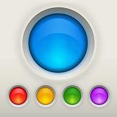 Farklı renklerde parlak boş düğme — Stok Vektör