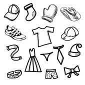 Clothes simple shapes collection — Stock Vector