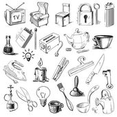 Household home objects collection — Stock Vector